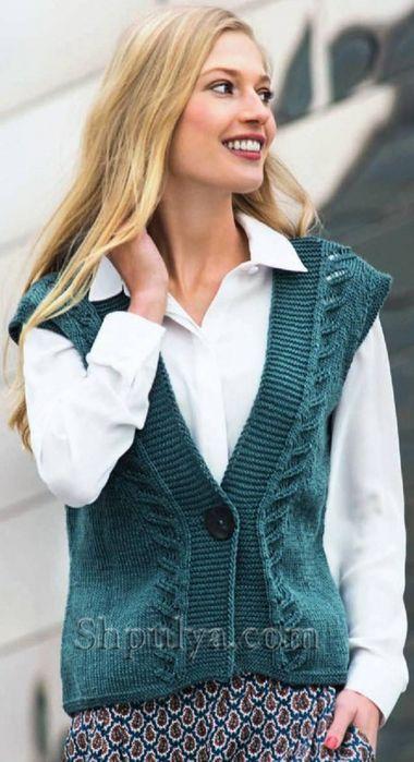 Зеленый жилет на пуговице, вязание спицами для женщин с ...
