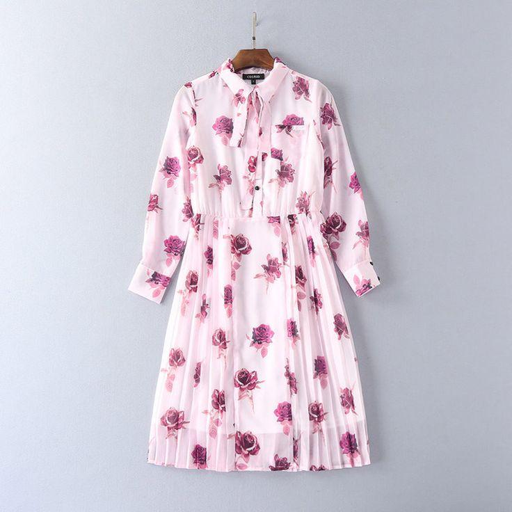 Фиолетовый цветок розы печати розовый плиссированные платья галстук бабочку отложным ошейник с длинным рукавом длиной до колен женщины повседневные платья 2017 рубашка платьекупить в магазине Runway Life StoreнаAliExpress