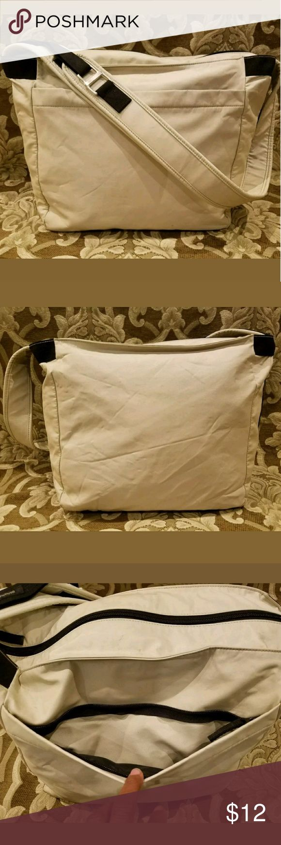 """BANANA REPUBLIC unisex nylon tote laptop/book bag Some scattered surface wear/scuffs from use. May be able to wash out with oxyclean. Enlarge pics for examples + details. No padding.  very good condition. 16.5 x 6.5 x 11.5 with adjustable 12"""" strap drop Banana Republic Bags Laptop Bags"""