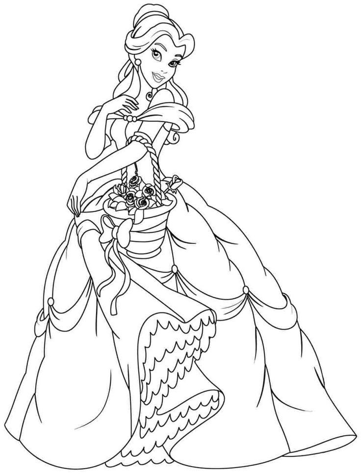 Belle Coloring Pages For Kids In 2020 Disney Princess Coloring