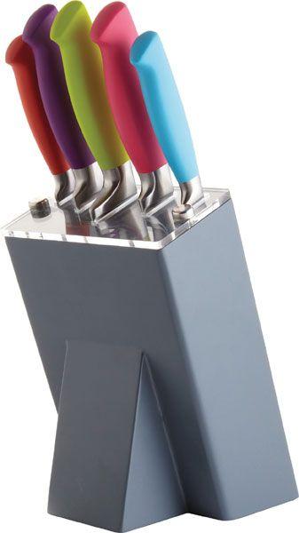- Conjunto de facas em aço inoxidável.<br>- Kit contém uma variedade de facas diárias, incluindo bloco de facas, facas de uso diário, apara faca, faca de pão e faca para chefs.<br>- O arco-íris cor do punho identifica cada faca e contrasta com o bloco de armazenamento.<br>-Conjunto de facas de corte, à venda na GS internacional.