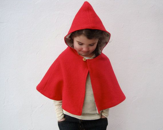 little red riding hood girls cape size 3T to 5T / by SewnNatural, $75.00