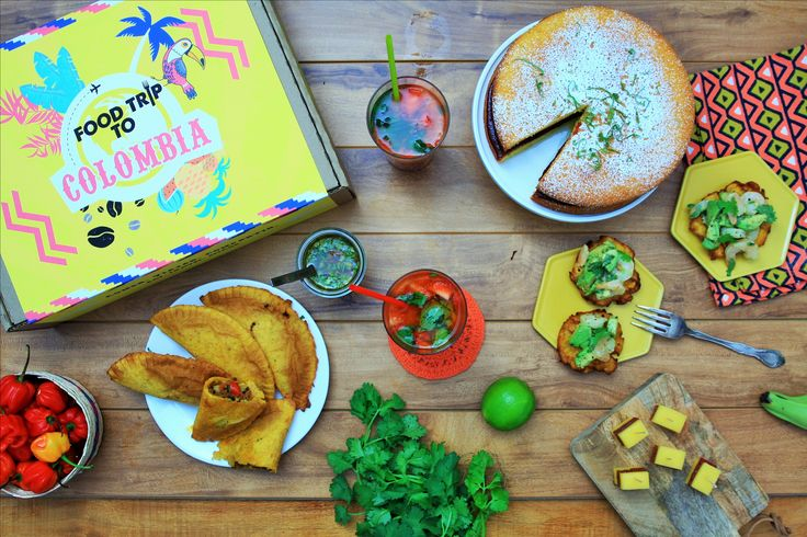 Food Trip To Colombia! Experience Colombia in the time it takes to enjoy a meal. The box contains a playlist, cultural facts presented in a fun way, a souvenir, and 6-7 food items with recipes to make an authentic meal for 6. You just need to pick up some fresh ingredients. #giftidea #subscriptionbox #foodtripto