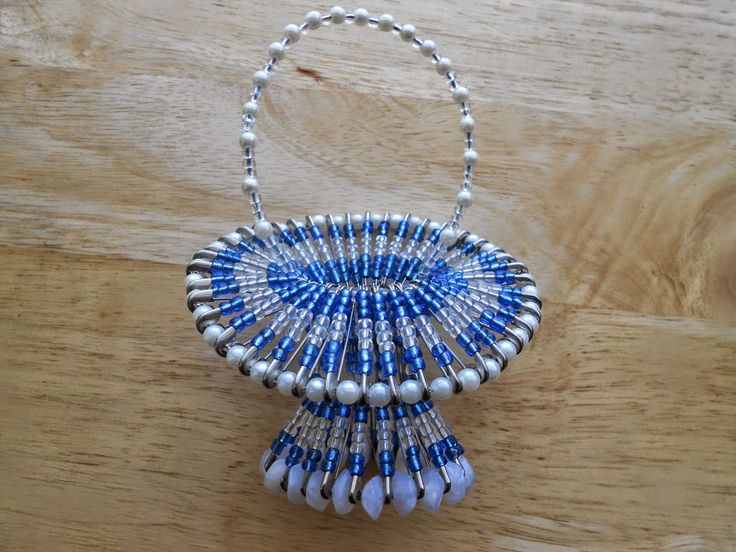 Izabela craftwork .... blue beaded basket: http://izabelacraftwork.blogspot.ro/2014/07/beaded-basket.html