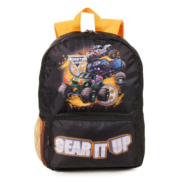 Glam up with Monster Jam Canvas Backpack. Wide Spread range of Monster Jam Party Supplies & Decorations for Birthday at Partybell.    #kidsparty #birthdayparty #monstertruck