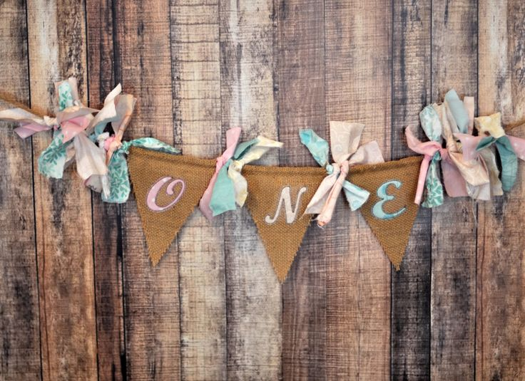 Shabby Chic Rag Flag Fabric Highchair Banner, Party Decor - Vintage Sweet Shop in Burlap with Soft Pink, Aqua, Cream - Birthday Cake Smash