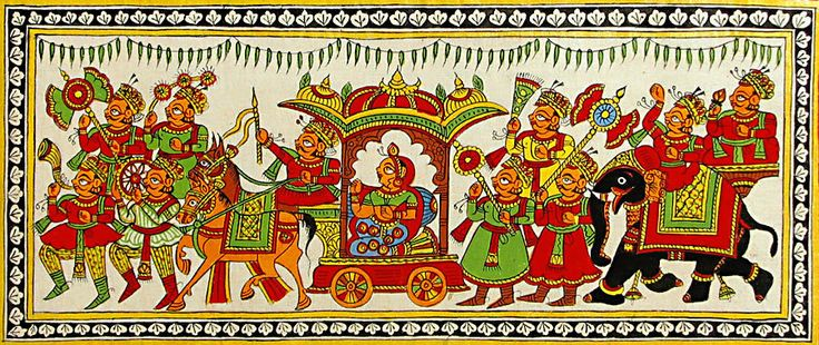 Rajput Bridal Procession (Phad Painting on Cloth - Unframed))