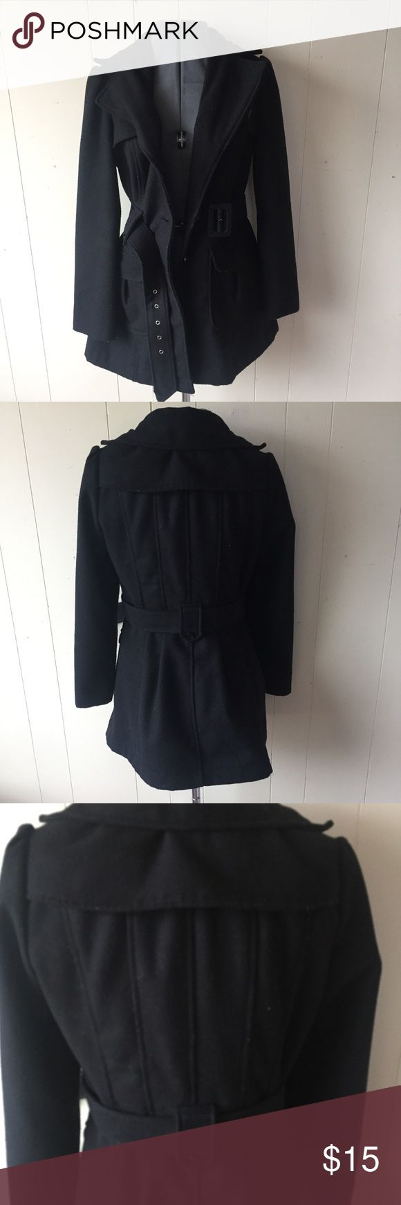Black Pea Coat Black warm pea coat. Worn, but lots of life left! Size medium. No holes or major flaws. Forever 21 Jackets & Coats Pea Coats