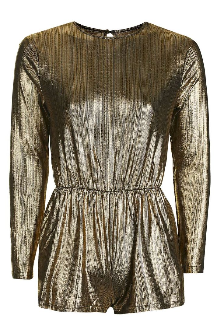 **Lurex Gold Playsuit by Glamorous Petites - Playsuits and Jumpsuits - Clothing - Topshop Europe