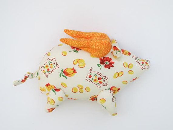 Flying pig softie plush stuffed pig toy soft stuffed animal toy orange child friendly stuffed toy gift for birthday get well and cheer up on Etsy, US$30.00