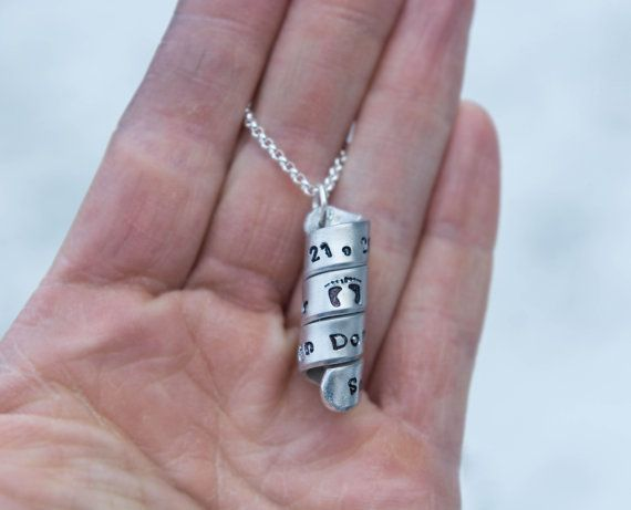 Secret Message spiral scroll pendant on a key chain or sterling silver necklace, gift for mom, dad, grandmother, grandfather, girlfriend, boyfriend, wife, husband, etc.