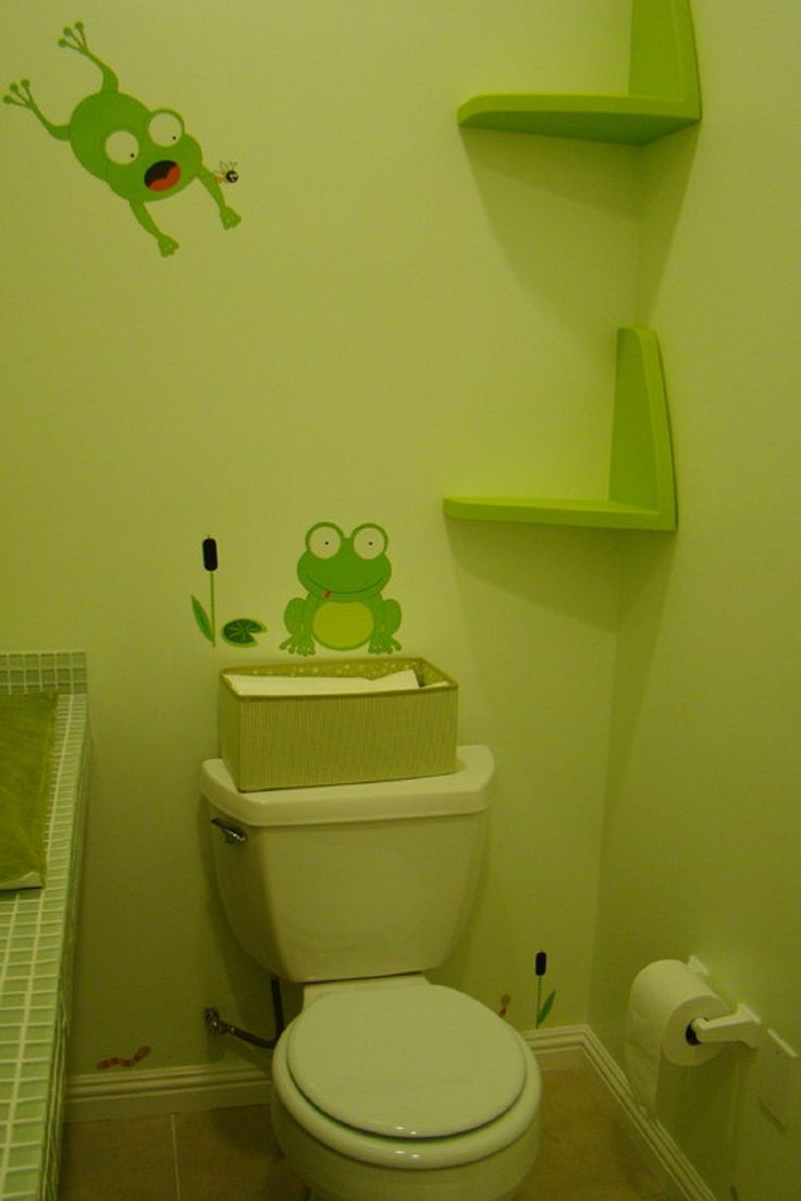 24 best frog bathroom images on pinterest frog bathroom kid pretty green frog wall decal with custom floating shelves in small green bathroom ideas for kids