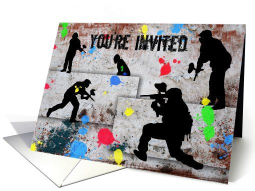 12 best invites images on pinterest | paintball birthday, Birthday invitations