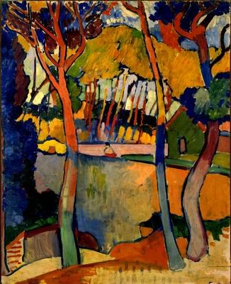 """Fauvism. Trois Arbres, l'Estaque, 1906 // painting by Andre Derain. """"Les Fauves believed that color should be used at its highest pitch to express the artist's feelings about a subject, rather than simply to describe what it looks like. Fauvist paintings have two main characteristics: extremely simplified drawing and intensely exaggerated color. Fauvism was a major influence on German Expressionism"""" (from www.artyfactory.com)"""