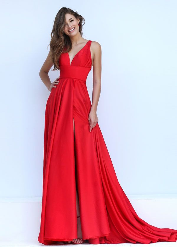 Elegant long prom dress features empire v-neckline bodice, matching with a-line slit front skirt. Tie back. Red color.