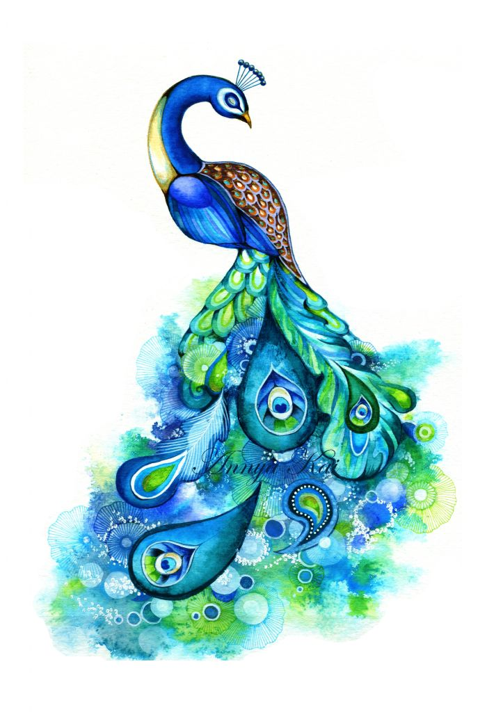 Peacock Watercolor Painting | Peacock Abstract Watercolor Fantasy Painting Nature Inspired Bird Wall ...