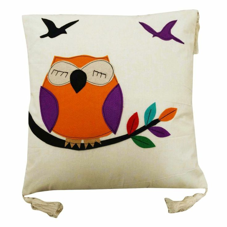 Owl Throw Pillow Covers : White Cushion Cover Cotton Fringe Pillow Case Owl Patchwork Throw India 16? Throw Pillows with ...