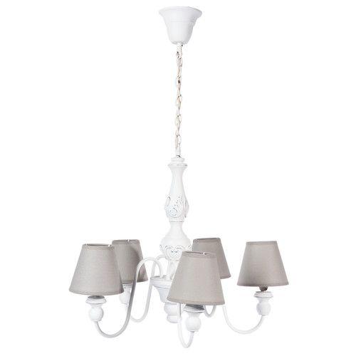 Lampadario bianco 5 bracci in legno e metallo D 55 cm BOVARY