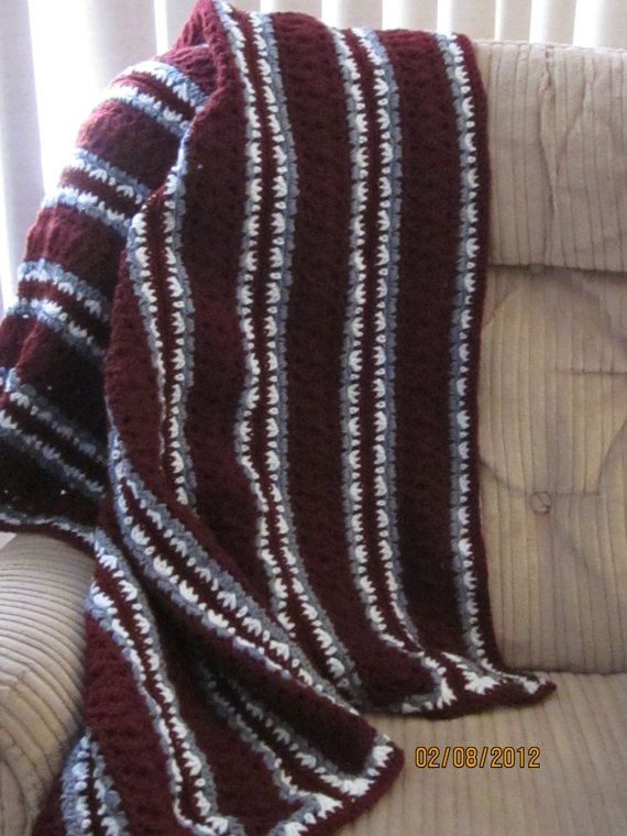 Maroon Burgundy Gray Amp White Adult Afghan By
