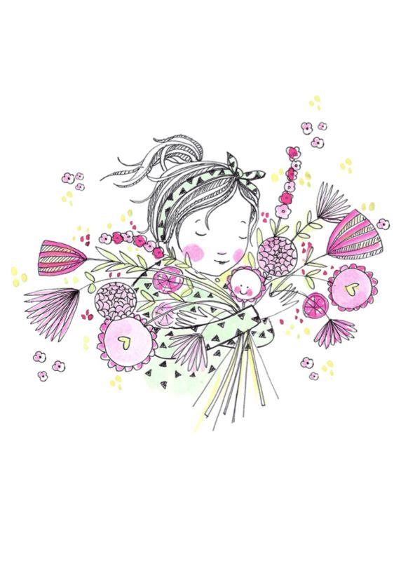 Marieke ten Berge 'Kaart Bloemenmeisje Roze'