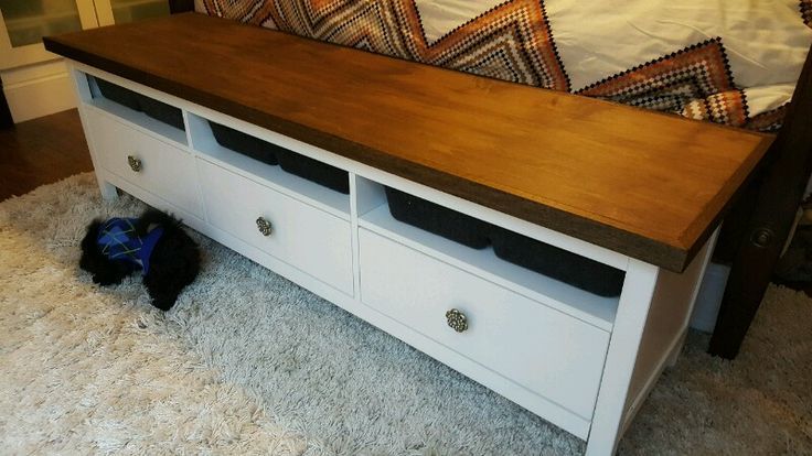 I am using the HEMNES TV unit at the end of my bed. The perfect size for a king bed. I covered with a 3/4″ piece of birch plywood and then added 1 1/2″miter cut trim. Wood + VITTSJO Industrial Media Console