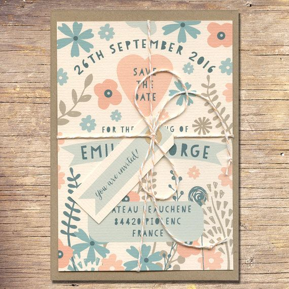 Contemporary Floral Save the Date 25 Rustic by papertreemedia