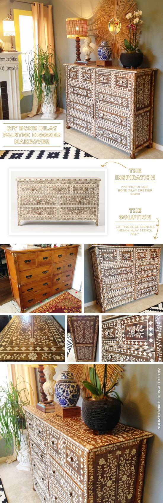 Cutting Edge Stencils shares a DIY Anthropogolie inspired bone inlay stenciled dresser using the Indian Inlay Stencil Kit. >>  http://www.cuttingedgestencils.com/indian-inlay-stencil-furniture.html?utm_source=JCG&utm_medium=Pinterest%20Comment&utm_campaign=Indian%20Inlay%20Furniture%20Stencil%20Kit%20
