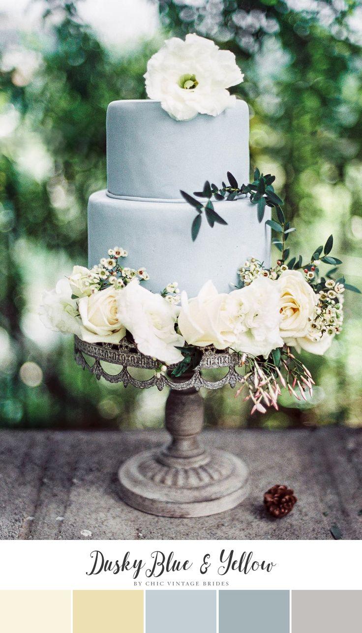 Dusky Blue & Yellow Spring Wedding Colour Palette