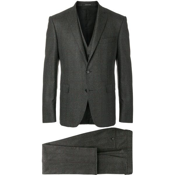 Tagliatore three-piece suit (860,930 KRW) ❤ liked on Polyvore featuring men's fashion, men's clothing, men's suits, grey, mens grey suits, mens grey 3 piece suit and mens gray suit