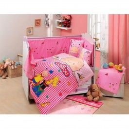 Set 4 piese lenjerie pat copii Poplin Baby Cailou Pink