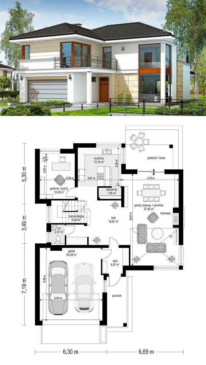 Two Story House Design With 2 Car Garage And Basement Two Story House Design Two Storey House Plans 2 Storey House Design