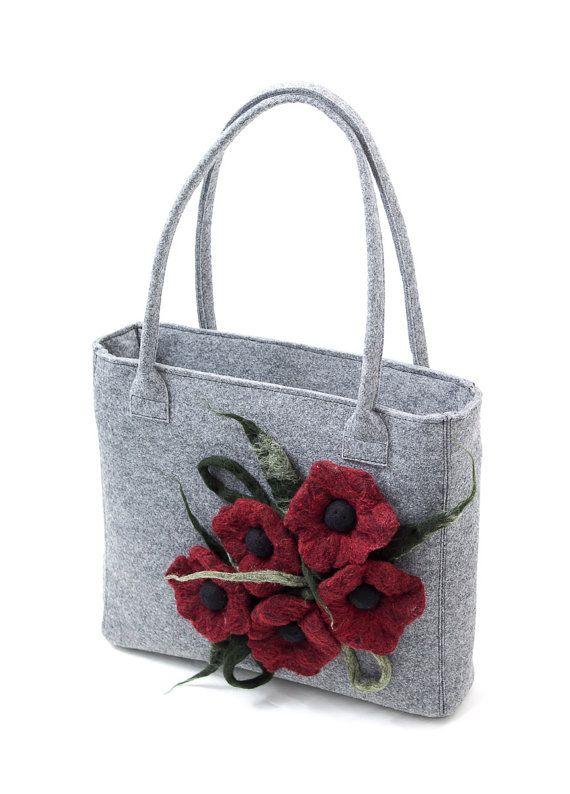 Grey felt handbag with a red floral motif. Red felted flowers by Anardeko