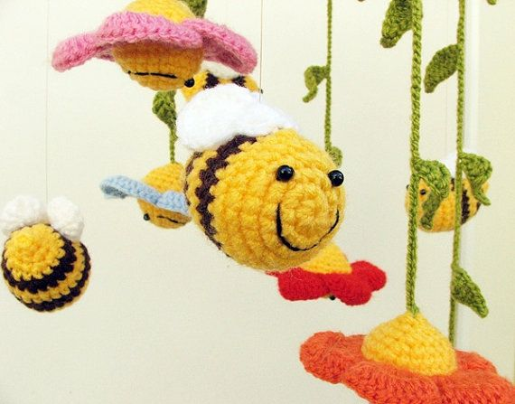 crochet baby mobile with flowers and bees colorful by spikycake