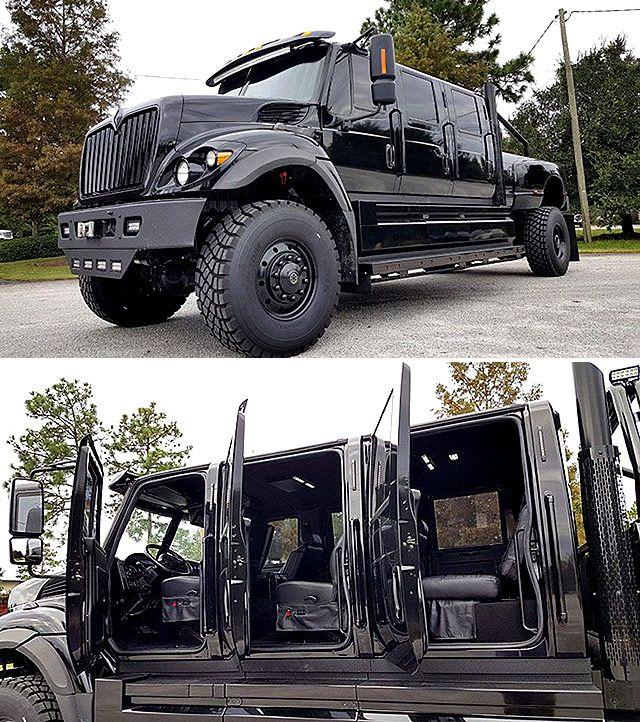 Taking Pick Ups To The Extreme Armored 2017 International Workstar Supertruck Six Door 4x4 Pickup Throttlextreme In 2020 Trucks Custom Trucks Diesel Trucks