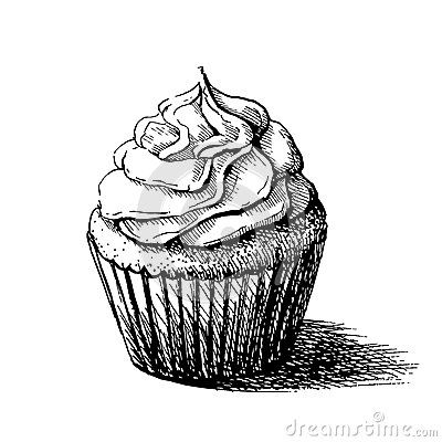Vector black and white sketch illustration of cute creamy sweet cupcake.