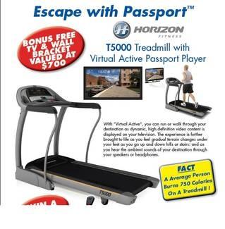 Horizon T5000 Passport Treadmill with Free TV from Elite Fitness Equipment Highpoint, gumtree