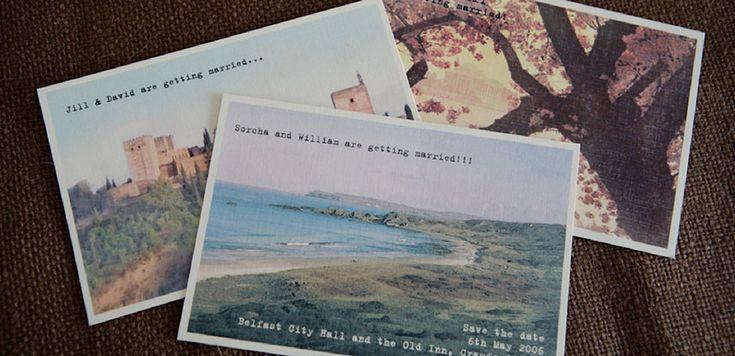 Vintage postcard save the dates