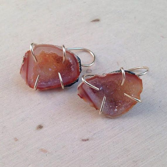 Geode Earrings / Geode Half Earrings / Geode by MalieCreations