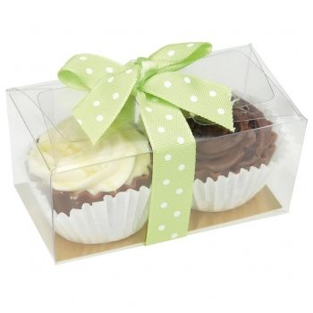 Peppermint wedding favour. Mini chocolate cupcakes which taste of cupcake flavours presented in clear boxes with coloured polka dot ribbon in peppermint green colour by www.fuschiadesigns.co.uk