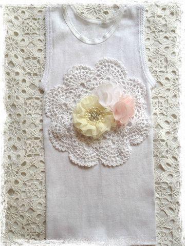 Handmade Newborn to Toddler crochet and flower vintage inspired singlet tank top. SINGLET63