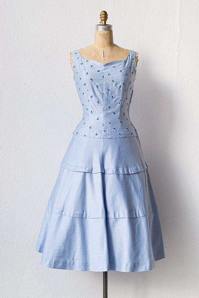 vintage 1950s light blue embroidered dress | Parkside View Dress