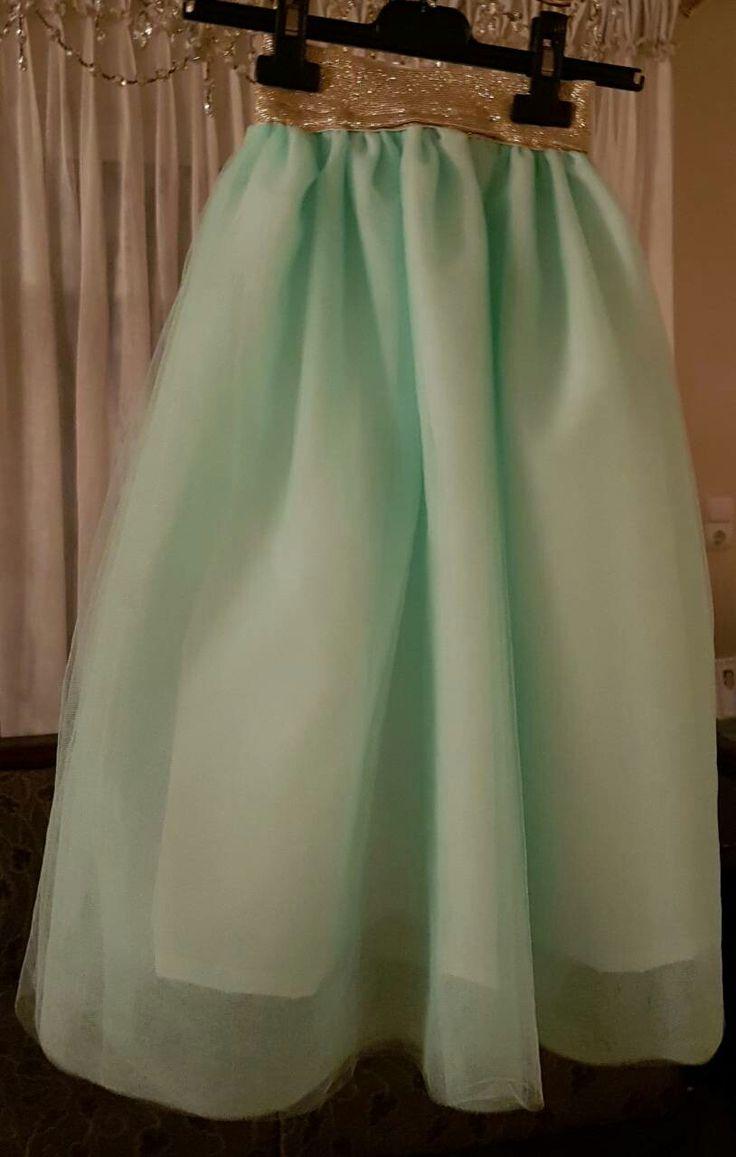 Τουλινη φούστα σε mint χρώμα με χρυσό λάστιχο