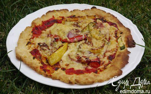 Быстрая пицца с перцем, цукини и красным луком  | Кулинарные рецепты от «Едим дома!»