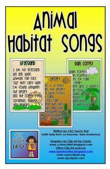 Animal Habitat Songs - C & C Teach First - TeachersPayTeachers.com