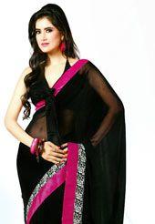 Black Faux Chiffon Saree with Blouse
