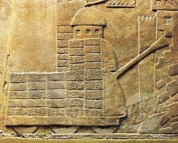 Relief with war machine, from ancient Nineveh, Iraq  Is that a tank??