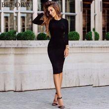 BEFORW Sonbahar Kadın Elbise Siyah Ofis Seksi Bodycon Parti Elbiseler Casual Maxi Kore Slim Pamuk Uzun Kollu Vestidos Robe(China (Mainland))