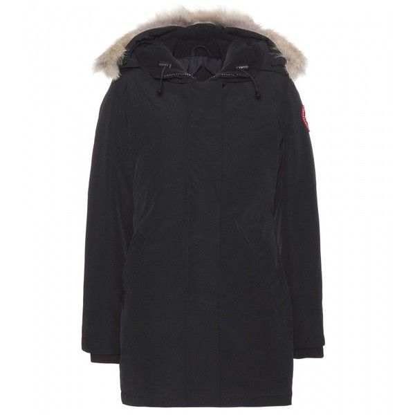 Canada Goose Victoria Down Jacket With Fur-Trimmed Hood ($845) ❤ liked on Polyvore featuring outerwear, jackets, black, down jacket, down filled jacket, canada goose, fur hood down jacket and fur-hood jackets