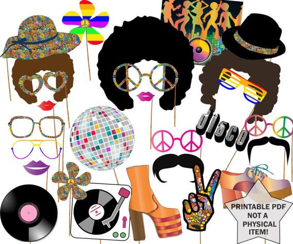 70s Party Photo booth props: DISCO PARTY PROPS