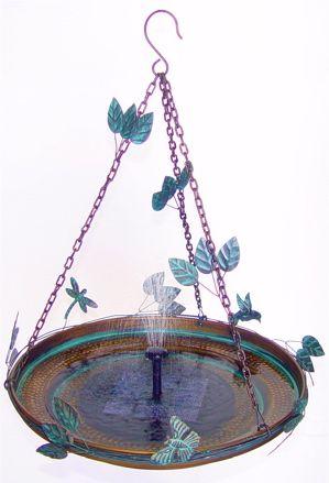 hanging bird bath solar powered mister....Hummingbirds love to play in the mist!!